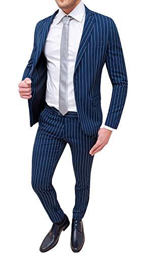 Abito Completo Uomo Sartoriale Smoking Vestito Elegante Cerimonia (46, Blu gessato a Righe)