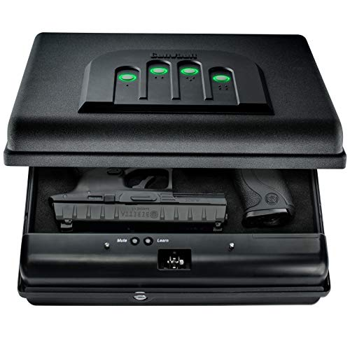 GunVault MicroVault XL Portable Large Gun Safe with Illuminated No-Eyes Digital Keypad and Security Cable (2 Pistol Capacity)