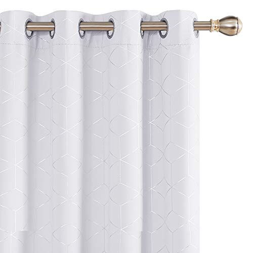 Deconovo Cortinas Opacas Diseño Rombo Plateadas para habitación con Ojales 2 Piezas 140x245cm Gris Blanco