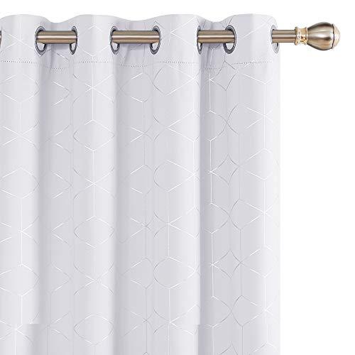 Deconovo Verdunkelungsvorhang Vorhänge mit Ösen Thermogardine 245x140 cm Grau Weiß 2er Set