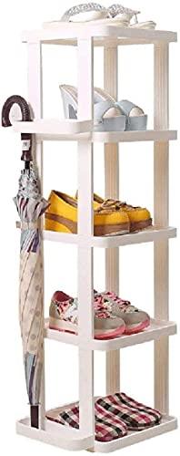 ZAIHW Estante de Almacenamiento de Zapatero Estrecho Blanco Estante Organizador de Estante Vertical para Puerta de Entrada Pasillo Baño Taburete de Cambio de Zapatos de 5 Niveles