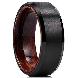 King Will Nature メンズ 8mm ブラックタングステンカーバイド結婚指輪 インレー 本物の木製の快適フィット つや消しセンター