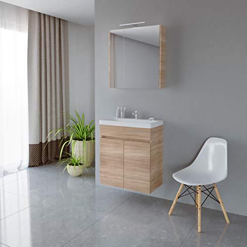 Planetmöbel Waschtisch + Spiegelschrank Badmöbel Set 63cm für Badezimmer WC (Sonoma Eiche)
