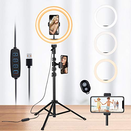 N \ A 10' Selfie Ring Light with Tripod Stand & 2 Flexible Phone Holders, Dimmable Beauty LED Ringlight for Live Stream/Makeup/YouTube/TikTok/Vlog Video