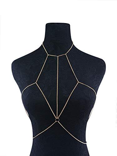 JIAJ Baunchketten Frauen-Geschirr-Körperschmuck-reizvolle Bikini-Büstenhalter-Kasten-Ketten-Körper-Kleidungs-Ketten (Farbe : Golden)