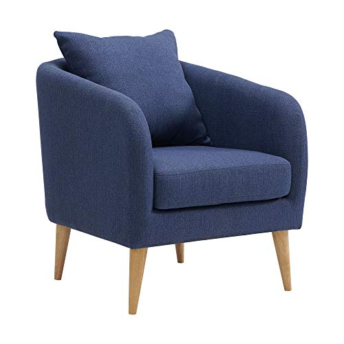 Picket House Zoe Accent Chair with Wooden Legs in Blue