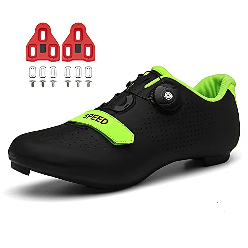 Zapatillas de Ciclismo Hombre Mujer Zapatillas de Bicicleta de Carretera Indoor Peloton con Tacos Compatible Pedal Look Delta SPD Black 240