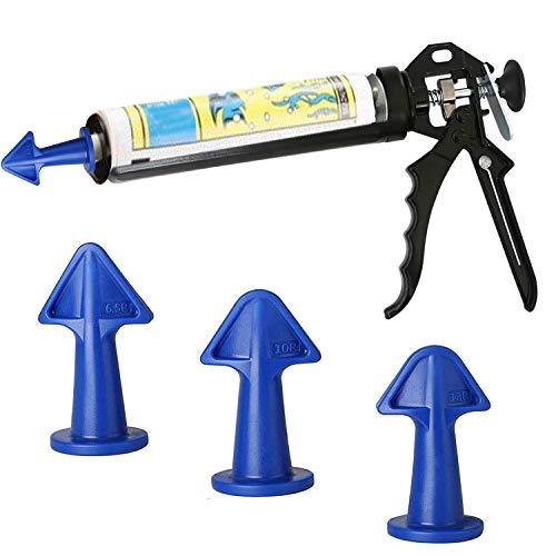 Caulk Gun with Caulk Nozzle Applicator, Heavy Duty Caulking Gun,16:1 Thrust Ratio for standard Caulk tubes, Caulking Tools Kit, Silicone Sealant Finishing Tool for Tile Brick Joints (blue)