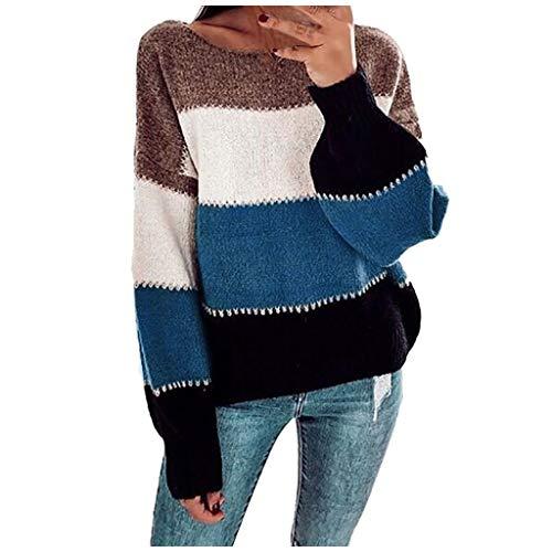 EUCoo - Maglione a maniche lunghe da donna casual O-Neck a tre colori con cuciture a righe Blu M