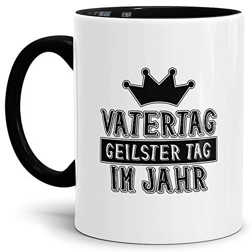 Tassendruck Herrentag-Tasse Vatertag - Geilster Tag im Jahr Innen & Henkel Schwarz/Papa/Vater/Betrunken/Flieder/Fahrrad/Bier/Beste Qualität - 25 Jahre Erfahrung