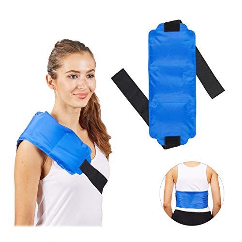 Relaxdays Kühlpad groß, Schulter & Rücken, Klettverschlussband, Gel, warm & kalt, Erste Hilfe Mehrfachkompresse, blau