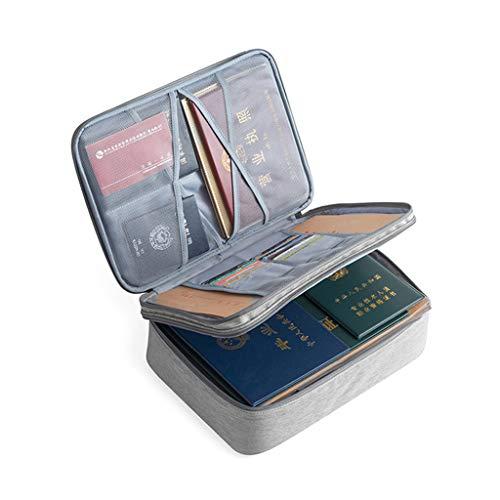 Myya - Cartellina per documenti con cerniera a doppio strato, colore: grigio, per lo studio scolastico e per l'ufficio