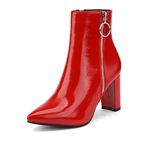Dream Pairs Sianna-3 Botas Talón Alto Nieve Invierno Moda para Mujer Rojo Charol