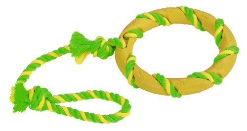 Kerbl Ring am Seil, grün-gelb Sortiert, 47 cm Vollgummi, Baumwolle