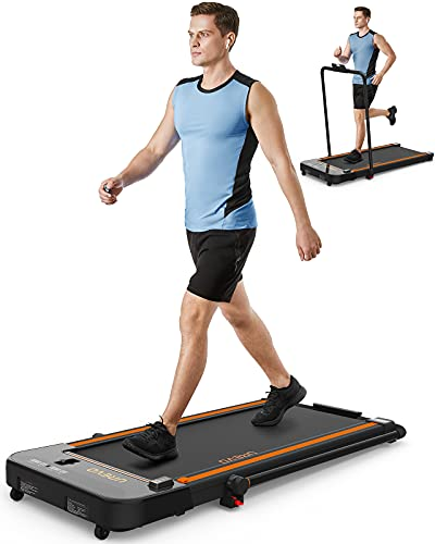 UREVO 2 in 1 Under Desk Treadmill, 2.5HP Folding Electric Treadmill Walking Jogging Machine for Home Office with Remote Control