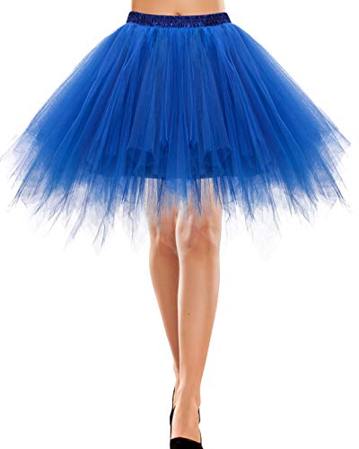 Rock lang Tüll Rockabilly weißes Kleid Kleidung Vintage Damen Retro 50s Petticoat Underskirt Kinder Retro Tutu Ballet Tüllrock Crinoline Cosplay Rock Rockabilly Royal Blue M