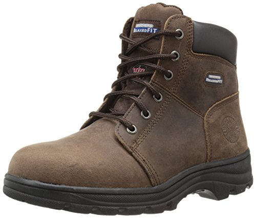 Skechers for Work Women's Workshire Peril Boot, Dark Brown, 9.5 M US