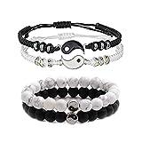 4 Pcs Matching Yin Yang Friend Couple Bracelets Handmade Adjustable Matching Cord Bracelets Boyfriend Girlfriend Relationship Gifts (4pcs bracelet)