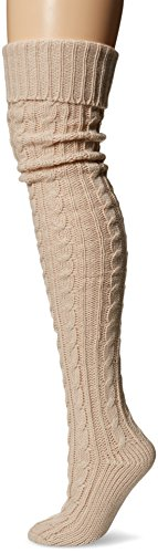 Muk Luks Women's 28'' Knee High Cable Socks, light pink, One Size fits Most
