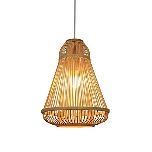Aozu Pantalla de bambú lámpara Colgante rústica de ratán lámpara de Mimbre Tropical Bricolaje salón de té Comedor Bar cafetería Granja lámpara Colgante lámpara de bambú, E27