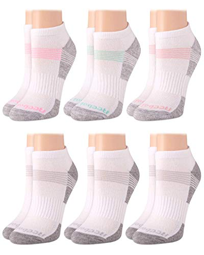 Reebok Women's No-Show Athletic Performance Low Cut Cushioned Socks (6 Pack), Size Shoe Size: 4-10 , Grey/White