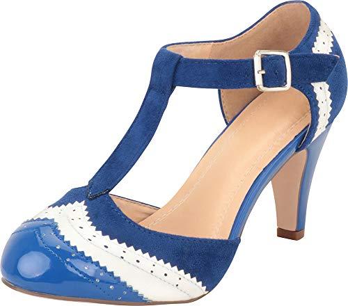 Cambridge Select Damen Pumps, T-Riemen, Flügelspitzen-Stil, Cut-Out, mittelhoher Absatz, Blau (marineblau / weiß), 35.5 EU