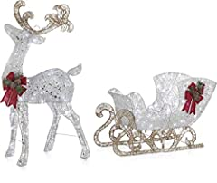 PERFECT CHRISTMAS GREETING: Make holiday decorating easy with our 4 Ft. light-up Reindeer and Sleigh Set. Whether you are decorating for Christmas or another holiday, our outdoor lawn decoration will give your family and friends the perfect greeting ...