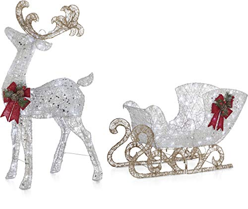 NOMA Pre-Lit LED Light Up Reindeer and Sleigh Set | Outdoor Christmas Lawn Decoration | 4 Ft