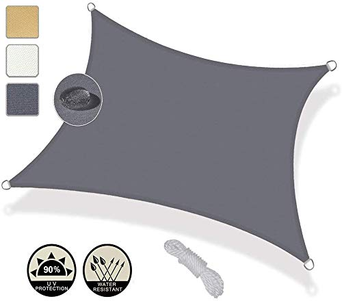 WQL Tenda da Sole Rettangolare Impermeabile - 2.5x2.5m Tende da Sole Protezione Solare Tenda da Giardino per Esterni ombrellone per piscina-3x3.5m Gri