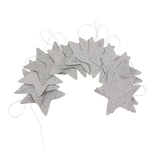 Homyl 2M Star Stern Hängende für Weihnachten Party Verzierung Dekoration - Silber