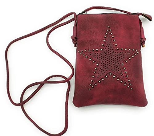 J.S. Ondo Bolso bandolera mujer, bolso pequeño mujer, bolso móvil mujer. (Rojo)