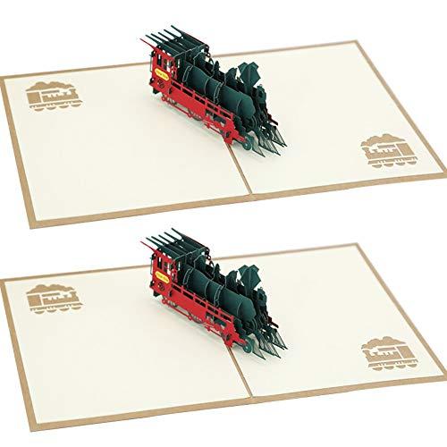 3D Karte, FANDE 2 Stück 3D Geburtstagskarte mit Dampflok, Pop Up Karte'Eisenbahn - Lokomotive', Bahn Geschenkidee, Karte zum Geburtstag, Hochzeitskarte, Bahnreise
