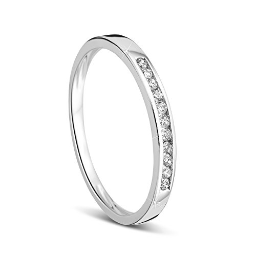 Orovi Damen-Ring Memoire HochzeitsringWeißgold 14 Karat (585) Brillianten 0.10 carat Verlobungsring Diamantring