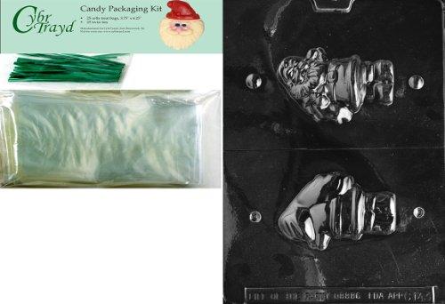 Cybrtrayd mdk25g-c1433D Santa Weihnachten Schokolade Form mit Verpackung Kit, inkl. 25Cello Taschen und 25grün twistbändern