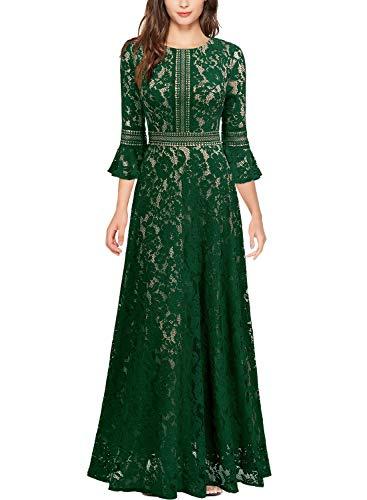 Miusol Vintage Encaje Slim Cóctel Vestido Largo para Mujer Verde Medium