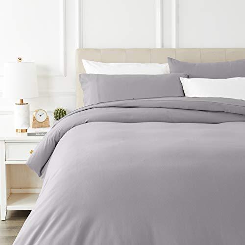 Amazon Basics - Juego de cama de franela con funda nórdica - 230 x 220 cm/50 x 80 cm x 2, Gris
