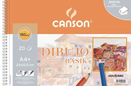 Canson - Dibujo Basik Liso, Álbum Espiral Microperforado, A4+ (23x32,5 cm) 20 Hojas, 150g
