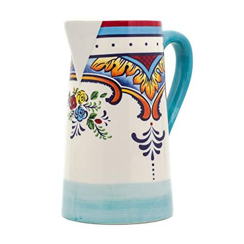 """Euro Ceramica Zanzibar Collection Vibrant 9.4"""" Decorative Ceramic Pitcher, 2.5LT, Spanish Floral Design, Multicolor"""