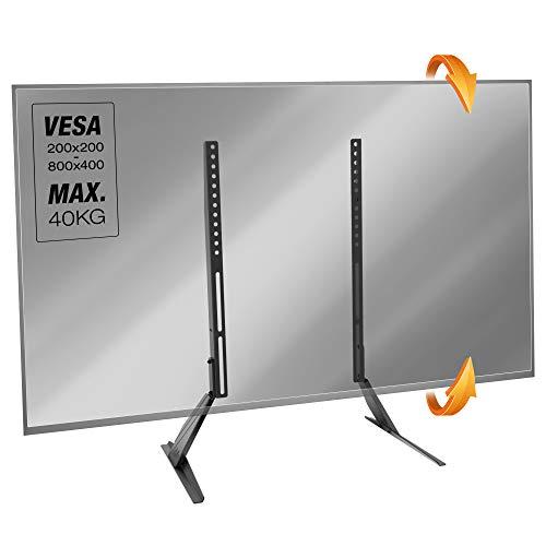 RICOO TV Stand-Halterung Fernseher-Ständer - (FS512) Fernseh-Halterung Universal Stand-Fuß 30-65 Zoll bis 40-kg Flach-Bildschirm, VESA Verstellbar 200x200-800x400