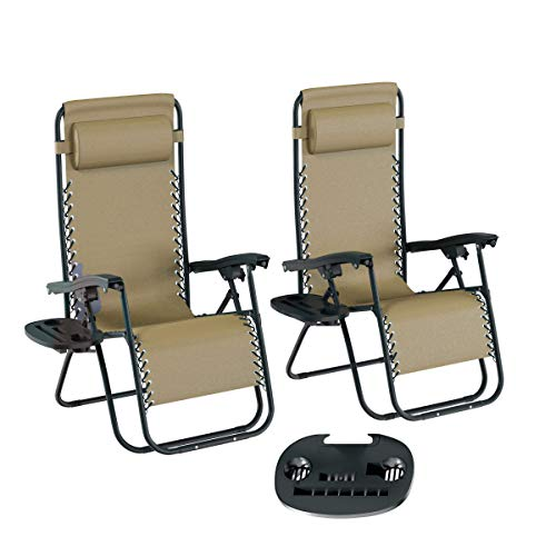 Lavish Home 80-ANTIG-4 Zero Gravity Lounge Chairs, Beige