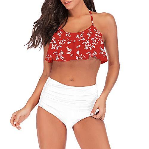Frauen Bademode Plissee Rüschen Bikini Sexy Badeanzug Hohe Taille Split Badeanzug B1 S