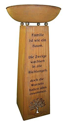 Rostikal | Edelrost Säule mit Familien Spruch und Dekoschale | Wohndeko für Haus und Garten | Gesamthöhe 115 cm (Schale 53 cm rund 13 cm tief)