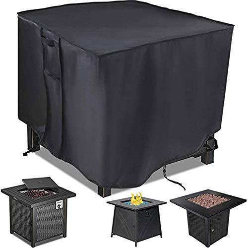 GRTBNH Gas Fire Pit Cover Square, wasserdichte Patio Firepit Tischabdeckung mit Festem Griff und Schnallen, Hochleistungsgewebe mit Silberbeschichtung, Ganzjahresschutzabdeckung,81X81X43cm