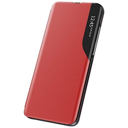 Xeber Funda para Samsung Galaxy A32 4G, funda de piel con tapa, para ventana transparente, con función atril, color rojo