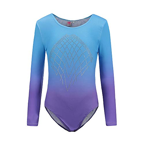 Sinoem Gymnastikanzug Mädchen Langarm Kinder Turnanzug/Ballett/Ballettröckchen Kleid Trikotanzug Tanz Kleid/Gymnastik/Training/Dancewear/Gymnastikbody für mädchen(8 (7-8Jahre), Blue+Purple)
