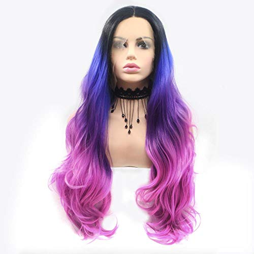Antes de la peluca de encaje de alta temperatura de seda gran ola en el color del pelo largo y rizado de 24 pulgadas