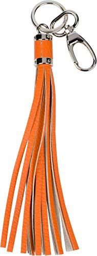 styleBREAKER Schlüsselanhänger aus Echtleder mit Karabiner, Quaste, Fransen, Damen 05050053, Farbe:Orange