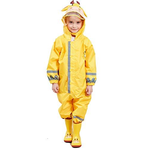Imperméable Fille Enfant Velo Complet Jaune Girafe avec Capuche Combinaison L'école Sport Manteaux Imperméable Pantalon Respirant Randonnée Veste Transparent Chapeau Unisexe Cape Pluie Poncho 5-7 Ans
