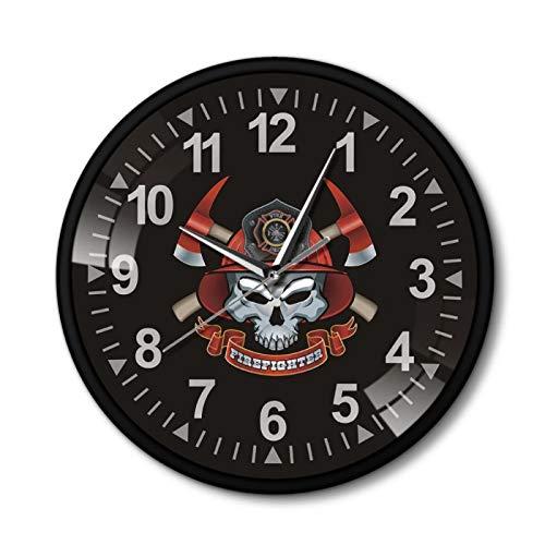LiHiFG Reloj de Pared con diseño de Calavera de Bomberos, Calavera de Bombero con Ejes Cruzados, Reloj de Pared con Marco de Metal, decoración del Departamento de Bomberos de la Cruz de Malta
