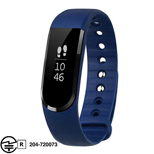 Letscom 活動量計 スマートブレスレット ワイヤレス スポーツバンド 歩数計 睡眠計 腕時計 カロリー消費記録 アラーム 遠隔カメラ 着信通知 長座注意 IP67防塵防水 日本語対応APP iPhone/androidスマホ対応 ブルー